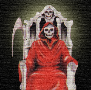 Red Santa Muerte sitting in a chair made of bone.
